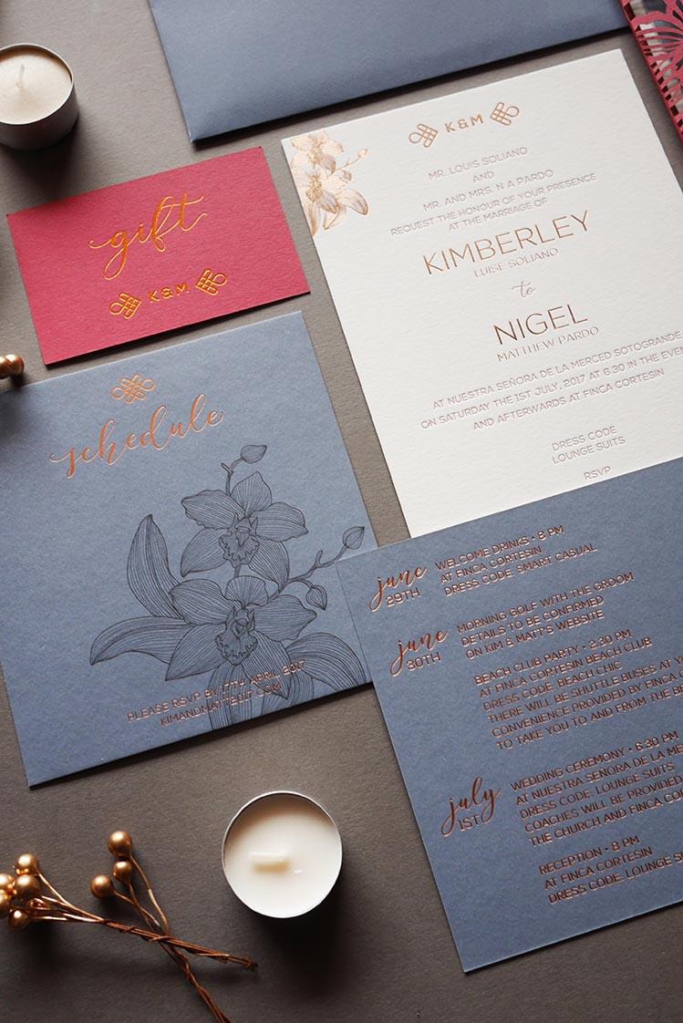 Modern Slate Blue Red Laser Cut Wedding Invitation