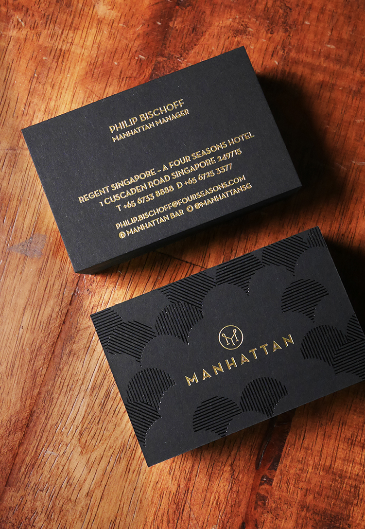 Manhattan Bar\'s Black & Gold Business Cards