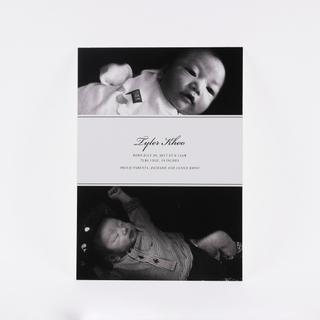 Classic Monochrome Birth Announcement Card