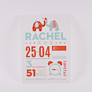 Typographic Baby Stats Birth Announcements (Orange & Teal)