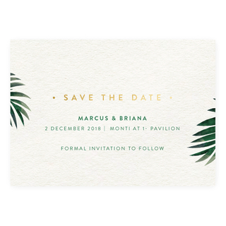 Tropical Palm - Save the Date with Gold Foil