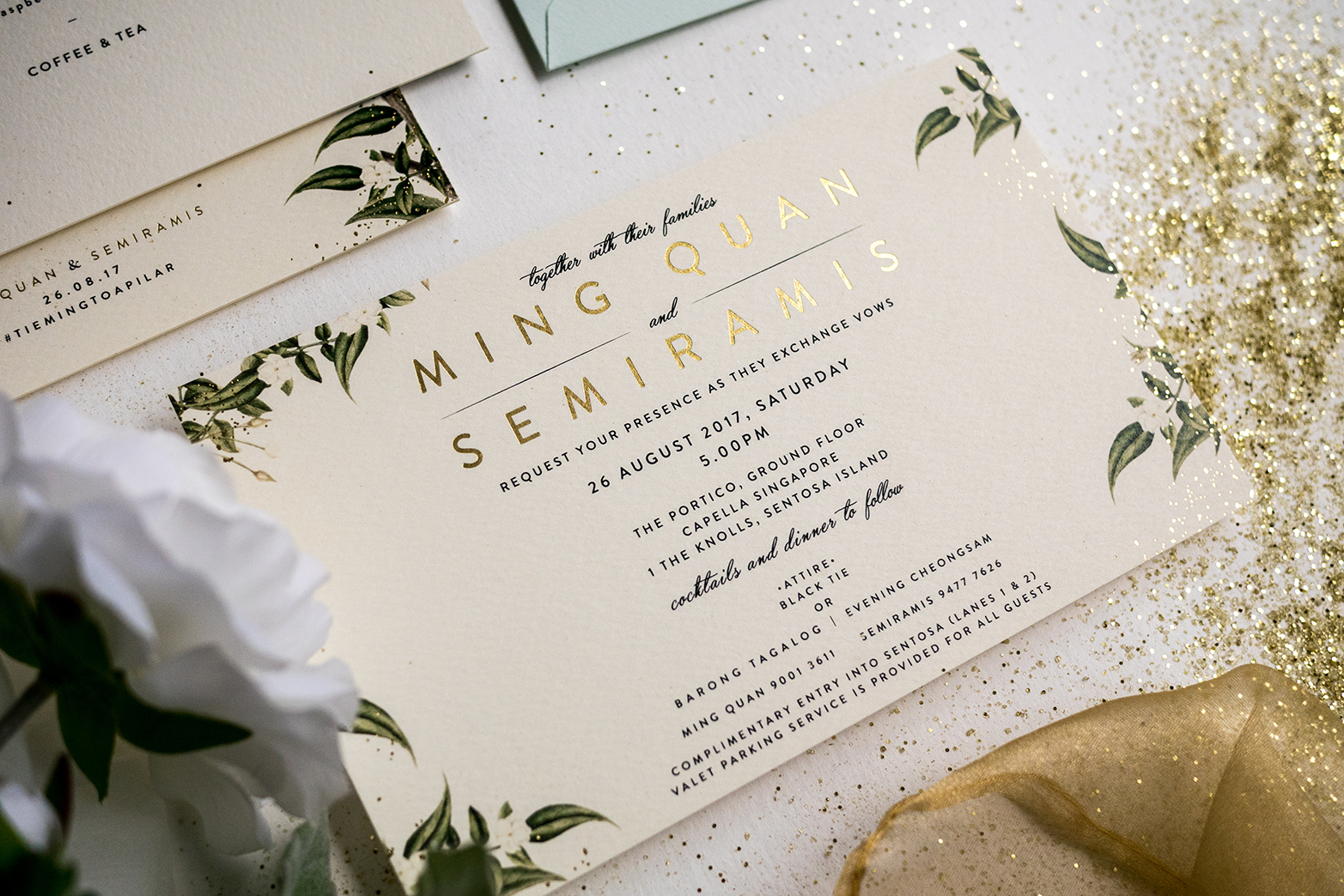 Mint Green Gold Dust Botanical Wedding Invitations