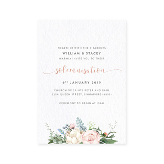 Petite Pastels - Solemnisation Invite with Rose Gold Foil