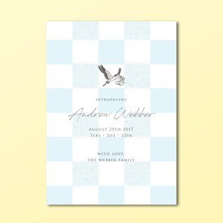 Classic Checkered Birth Announcement with Customisable Motif