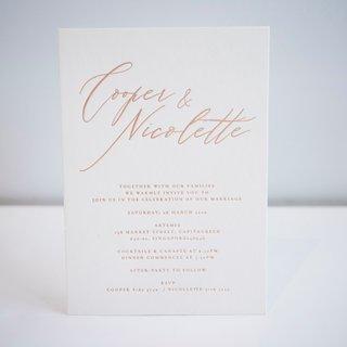 La Moderna Calligraphy Letterpress Wedding Invitation