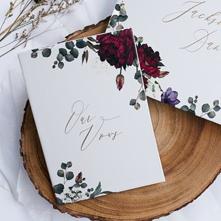 Personalised Vow Book - Burgundy Botanicals