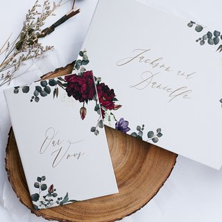 Personalised Wedding Guestbook - Burgundy Botanicals
