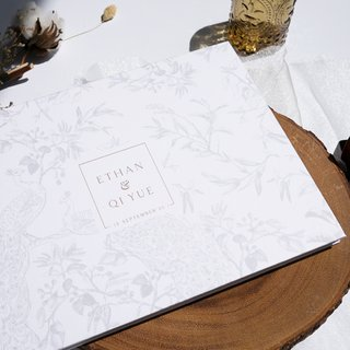 Personalised Wedding Guestbook - Chinoiserie Peacock